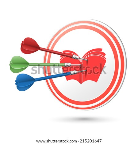 education concept target with darts hitting on it over white - stock vector