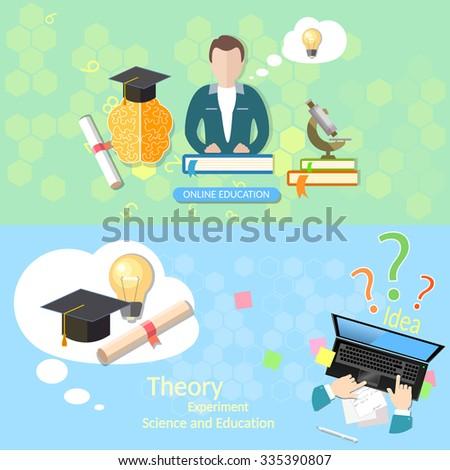 Education concept teacher classroom exams online education diploma laptop student lecturer distance tutorials university college vector banners - stock vector