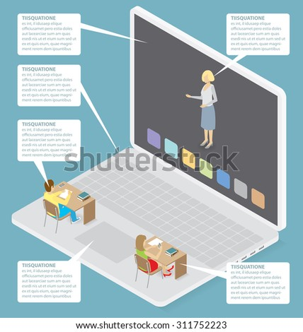 Education Concept. Vector 3d flat isometric with teacher, classroom and students - stock vector