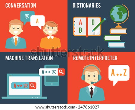 Education, dictionaries, communication in different languages. Translation and dictionary concepts in flat style. Vector illustration - stock vector