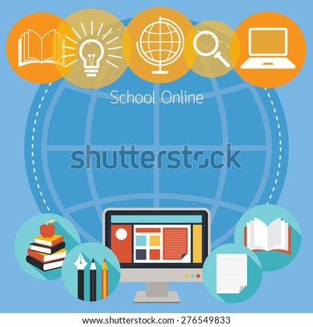 Education, E-Learning, Objects Icons Background, School Online, E-Book, Study - stock vector