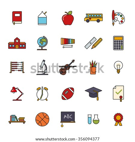 Education Filled Line Icons Set. Collection of twenty five education, school, college and university related line icons with color fill. - stock vector