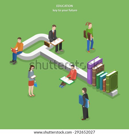 Education flat isometric vector concept. People read books near key, part of which are books. - stock vector