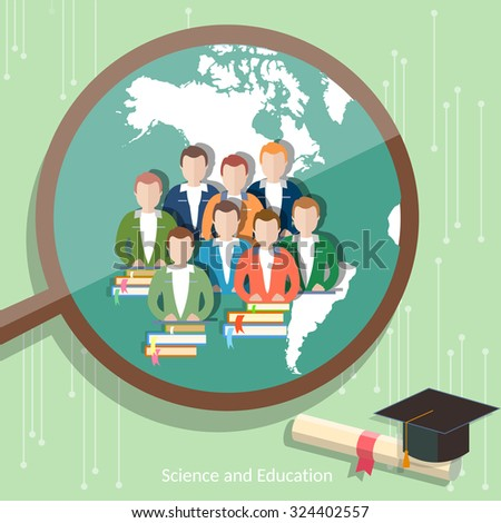 Education group of students distance learning higher online education international e-learning college university vector - stock vector