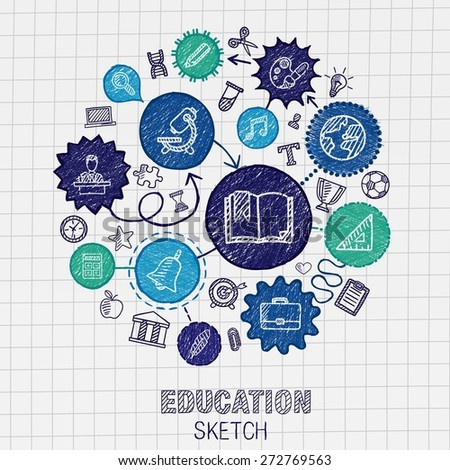 Education hand drawing connected icons. Vector doodle interactive pictogram set: sketch concept illustration on paper: elearning, knowledge, learn, analytics, network, science, social media. - stock vector