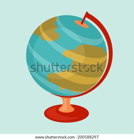 Education icon cartoon abstract stylized school globe. - stock vector