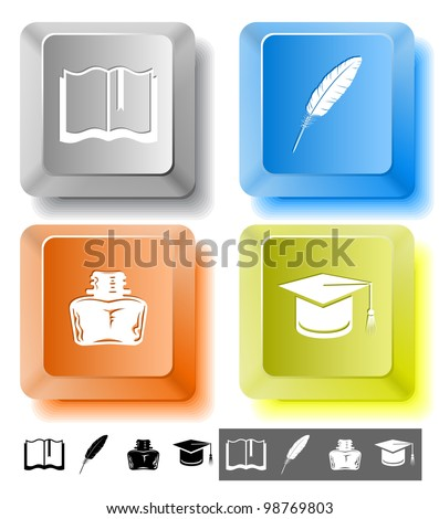 Education icon set. Graduation cap, book, inkstand, feather. Computer keys. Vector illustration. - stock vector