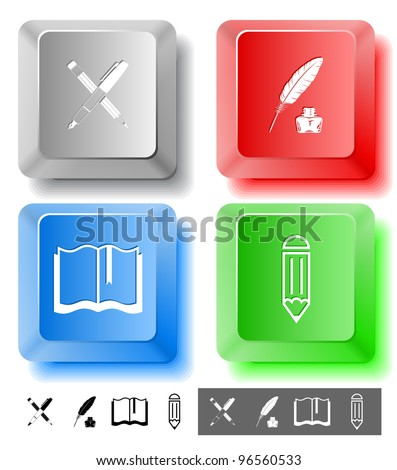 Education icon set. Ink pen and pencil, pencil, feather and ink bottle, book. Computer keys. Vector illustration. - stock vector