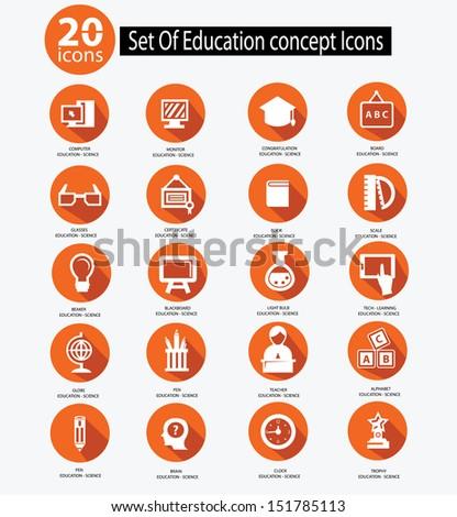 Education icon set,Orange version,vector - stock vector
