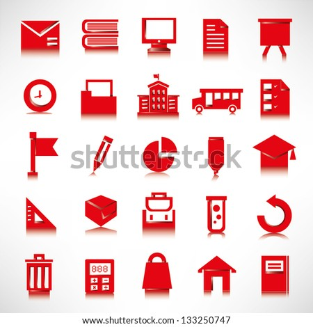 education icon set, red icons - stock vector