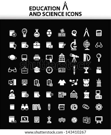 Education icons,Black version,vector - stock vector