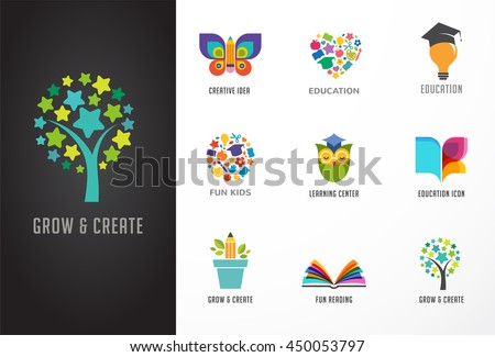 Education icons, elements set. Book, student hat, owl and tree symbols - stock vector