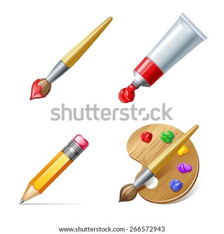Education icons. Pencil,  palette, paint tube and brush with paint - stock vector