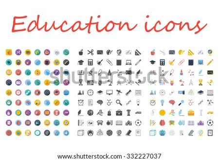 Education icons set. Flat vector related different styles icons set for web and mobile applications. It can be used as - logo, pictogram, icon, infographic element. Vector Illustration. - stock vector