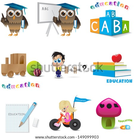 Education Icons Set - Isolated On White Background, Vector Illustration, Graphic Design Useful For Your Design  - stock vector