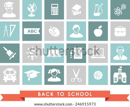 Education icons. Set of education icons in flat colorful style. - stock vector