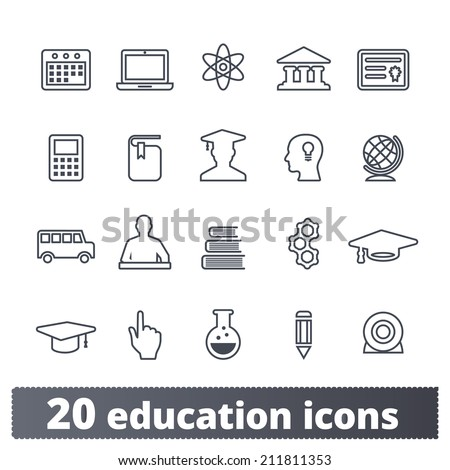 Education icons: vector set of college, elementary school and university signs - stock vector