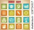 Education icons,vintage style,vector - stock vector