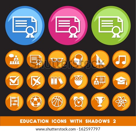 Education Icons with Shadows 2.  - stock vector