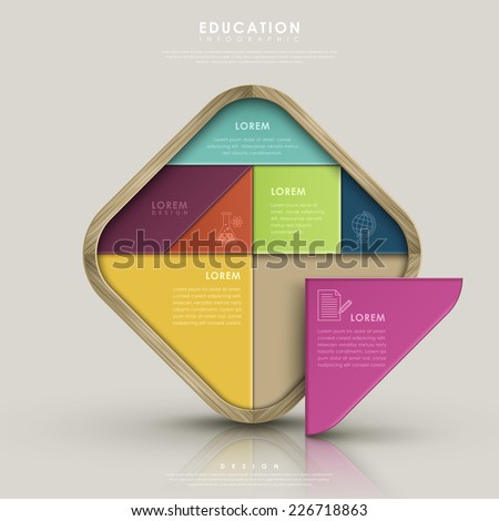 education infographic design with colorful tangram element - stock vector