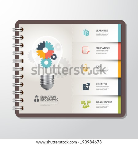 Education infographic Template with Light bulbs gear banner on paper book. concept vector illustration  - stock vector