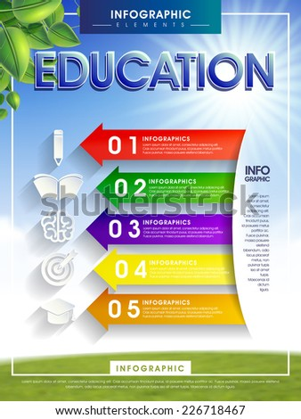 education infographic with colorful arrow and icons elements   - stock vector