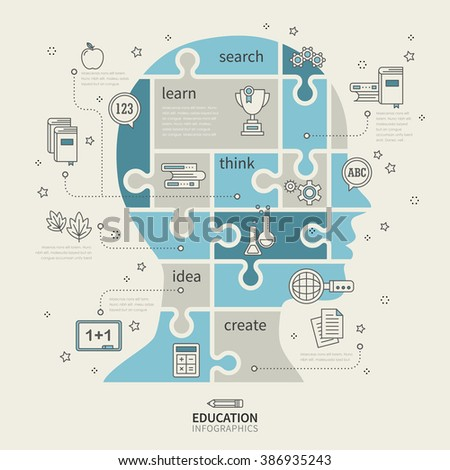 education infographic with puzzle human brain elements - stock vector