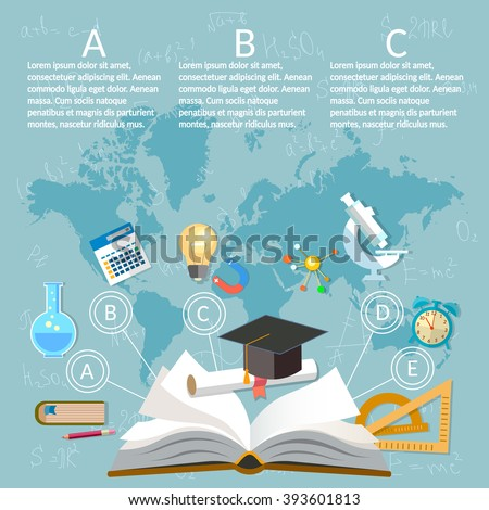 Education infographics open book of knowledge on world map background - stock vector