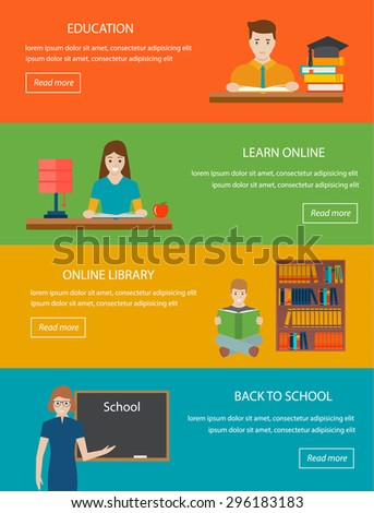 Education, learn online, back to school, online library, e-learning concepts with people reading books Vector horizontal banners set in flat design style Books, teacher, students Infographics elements - stock vector