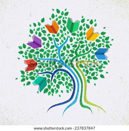 Education learning and growth concept with colorful abstract tree book illustration. EPS10 vector file organized in layers for easy editing. - stock vector