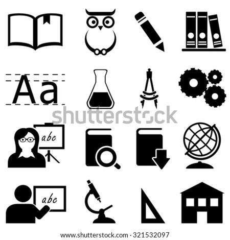 Education, learning and school icon set - stock vector