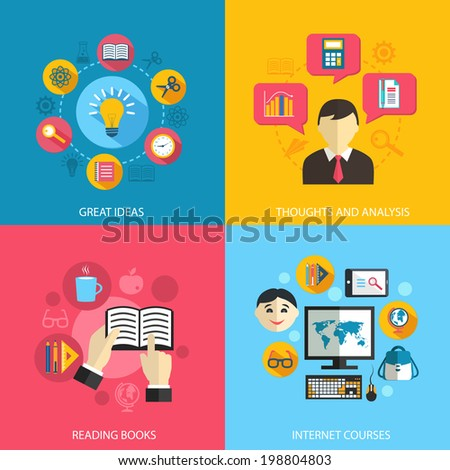 Education learning concept flat icons set of great ideas books reading e-learning internet courses and research for infographics design web elements vector illustration - stock vector