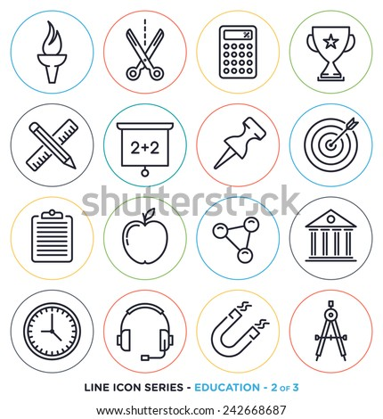 Education & learning line icons set.  - stock vector