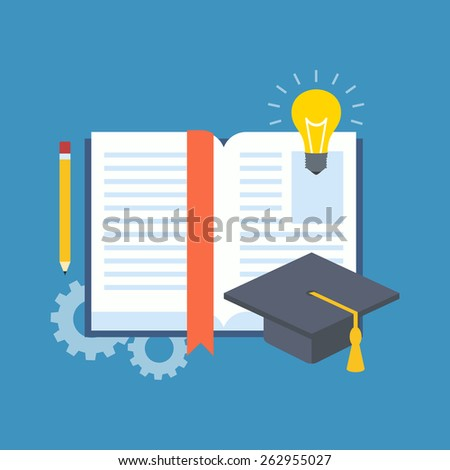Education, learning, studying concept. Flat design stylish. Isolated on color background - stock vector