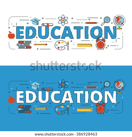 Education lettering flat line design with icons and elements for book cover, report header, presentation,illustration, infographics, printing, website banner and landing page. - stock vector