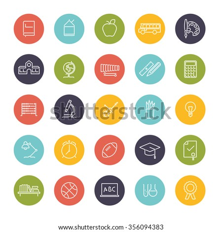 Education Line Icons collection. Set of twenty five education, school, college and university related white line icons in color circles - stock vector