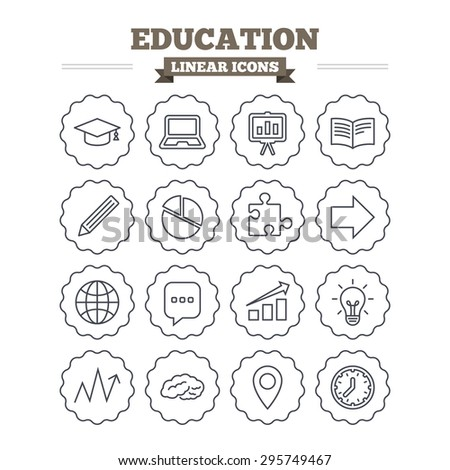 Education linear icons set. Graduation cap, pencil and book symbols. Notebook, presentation and speech bubble thin outline signs. Pie chart, piece of puzzle and arrow. Flat vector - stock vector