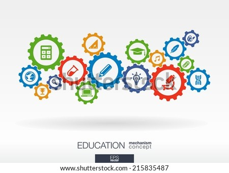 Education mechanism concept. Abstract background with connected gears and icons for elearning, knowledge, learn, analytics, network, social media and global concepts. Vector infographic illustration - stock vector