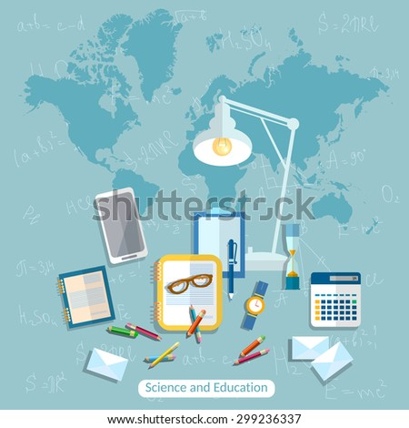 Education online learning student school desk international college school university books formula math algebra geometry vector illustration - stock vector