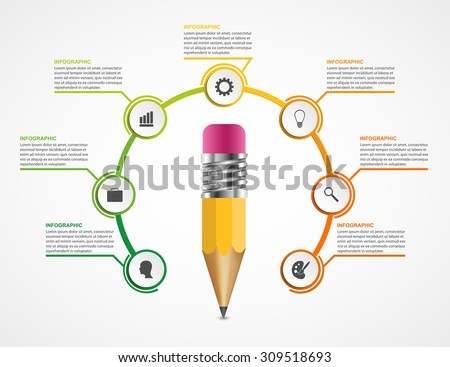 Education pencil option Infographics design template. - stock vector