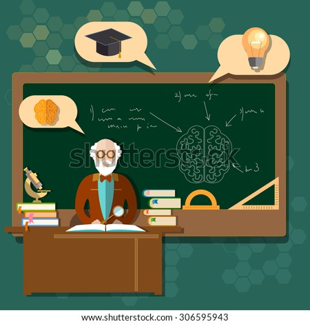 Education professor teacher students school boards classroom back to school college research mathematics geometry vector illustration - stock vector