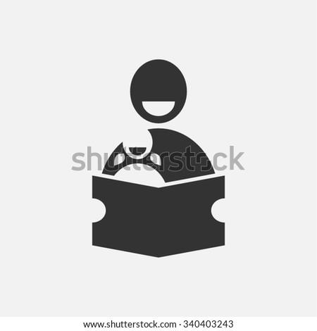 Education Reading Father Daughter School Teacher Vector Icon  - stock vector