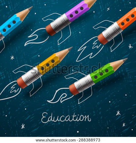 Education. Rocket ship launch with pencils - sketch on the blackboard, vector illustration.  - stock vector