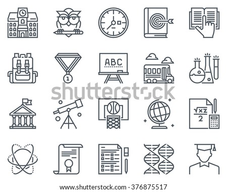 Education, school icon set suitable for info graphics, websites and print media and  interfaces. Line vector icons. - stock vector