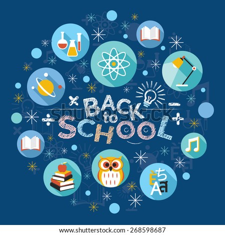 Education, School, Learning and Study, Flat Icons and Text Heading - stock vector