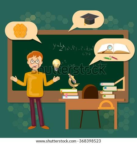Education schoolboy at the blackboard school classroom vector illustration - stock vector