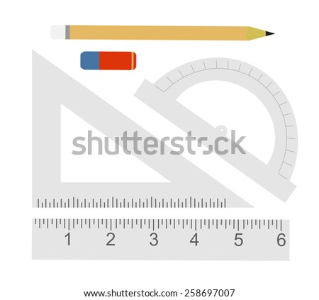 Education set. Pencil, eraser, protractor, triangle ruler, liner ruler. Vector clip art illustrations isolated on white  - stock vector