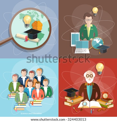 Education set professor teachers students diploma exam international study college university institute vector illustration - stock vector