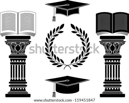 education. stencil. fifth variant. vector illustration - stock vector