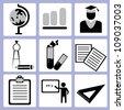 education, study icon set - stock vector